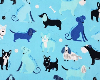 Various Dog Breeds Fabric Pink Light Design for Robert Kaufman Fabric by the Half Yard