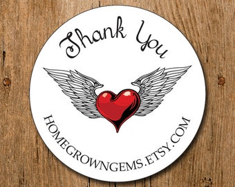 Customized Thank You Stickers - Red Heart with Wings - Labels - Wedding - Birthday Party - Thank You Stickers