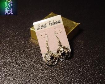 Silver Blackstone Ornate Cabochen Hook Earrings