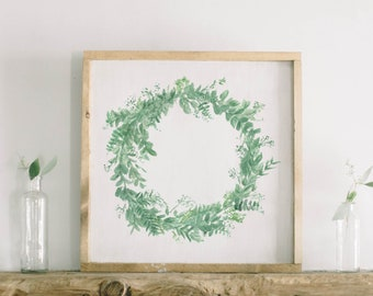 Watercolor Framed Wood Sign - Greenery Wreath, Handmade in USA, Spring Summer Decor, Housewarming Gift, Birthday Present, Home Decor