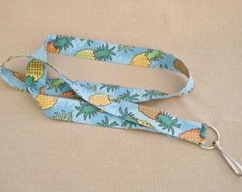 Pineapples - handmade fabric lanyard