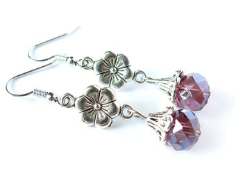 Purple Crystal and Flower Dangle Earrings