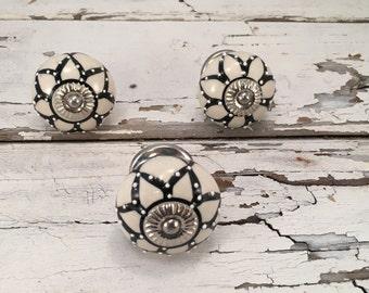 Knobs, Decorative Tomato Pull Craft Supply Knob, Black & White Ceramic Hand Painted Drawer Pulls, Cabinet Supplies, Item #511193359