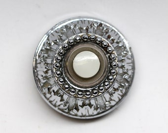Salvaged Waldorf Silver Plated Ornate Doorbell with White Button