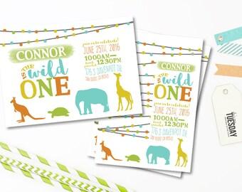 Wild One First Birthday Invitation - Wild One Safari Invitation - Animal Birthday Party Invitation - Zoo Animals - Printable
