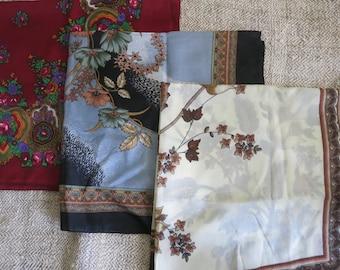 Women scarf Square scarf Vintage kerchief Gift girlfriend Scarf lot Brown vintage shawl Grey vintage shawl Red vintage shawl Mom gift