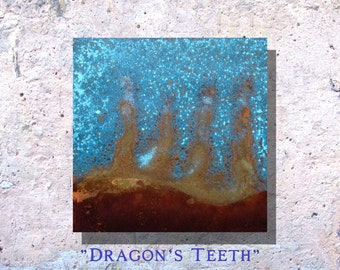 "Art Painting Copper Art Abstract Patina Painting ""Dragon's Teeth"" 8 x 8"" Metal Wall Art"