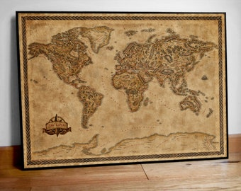 Fantasy inspired illustrated map poster of the world, Large world map print, Fantasy decor, Fantasy map, Fantasy poster, Housewarming gift