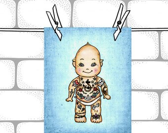 Blue Tattoo Baby Kewpie Doll-  8x10  Illustration Art Print - Baby Nursery Decor  - Kewpie Doll Art