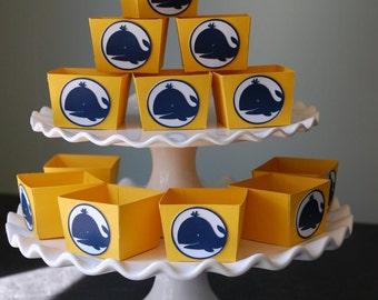 Candy tasses, nautique, faveurs de baleine, baleine parti, thème baleine, baleine Baby Shower, 12 Pcs, jaune marine des baleines