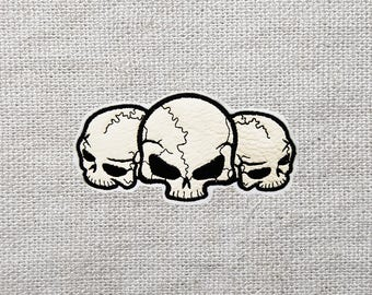 Three Skulls Embroidered Patch 4.9 x 2.5 inch (126 x 65mm)