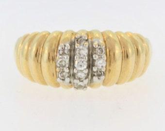 Caterpillar Style Diamond Ring- 14k Yellow Gold