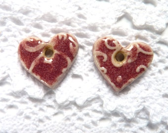 Ceramic heart charms ~ handmade earring charms, clay hearts, for crafts and jewellery making, unique earring charms, jewelry component