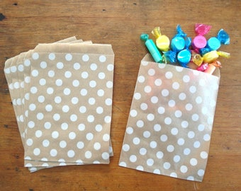 Polka Dot Favor Bags - Polka Dot Gift Bags - Kraft Paper Bags - Kraft Treat Bags - Party Favor Bags, Set of 24