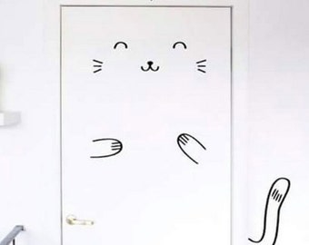 Wall sticker SMILING CAT for doors, fits every size!