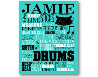 Drums Typography Poster, Drummer Art, Drummer Gift, Snare Drum Art, Drum Gift, Marching Band Gift, Drum Canvas, Drumming Gift