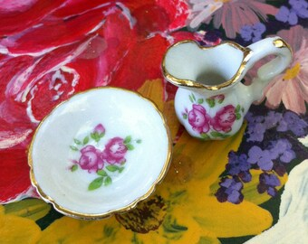 Tiny Pitcher & Bowl Set, Gold Trim, Pink Floral, Dollhouse Size, Smallest I have