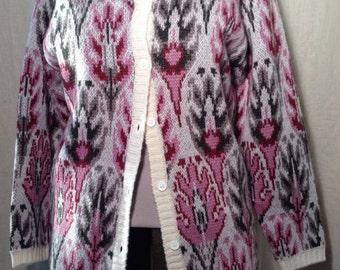 Vintage Lady Clansman Bermuda Wool Cardigan Sweater Jacket Sz L William Morris Pattern Thick Soft Patterned Yarn Bloomsbury Feel