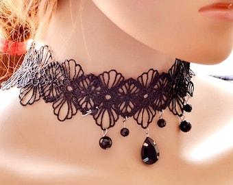Black Lace Victorian Choker Necklace Elegant Black Lace Steampunk Gothic Teardrop Goth Wedding Choker