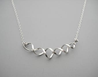 DNA Necklace - silver minimalist double helix, science jewelry, biology teacher gift