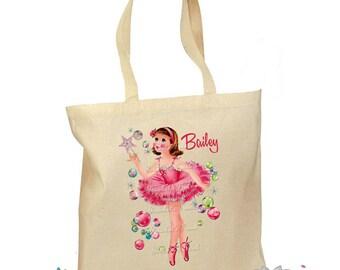 Ballet Bag - Girls Ballet Tote - Personalized Tote - Ballerina Tote Bag - Pink Ballet Bag - Dance Shoe Bag - Retro Gift Canvas Vintage