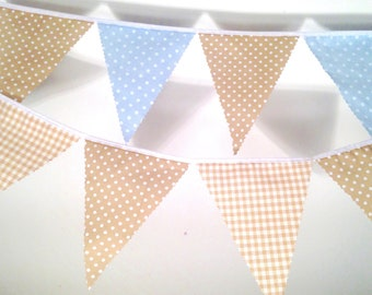 Beige Bunting choice of gingham polka dot blue, choose  own length from 1m,  perfect for bridal showers, christenings and baby Showers