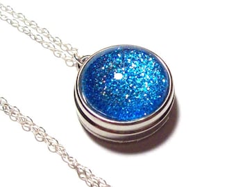 SALE Sapphire Necklace, Snap Necklace, sterling silver, blue, snap jewelry, 18mm, snap charm, noosa, ginger, snap button, snaps, sparkle