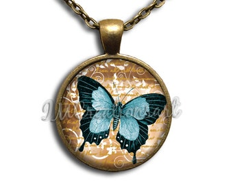 Teal Butterfly Glass Dome Pendant or with Chain Link Necklace AN153