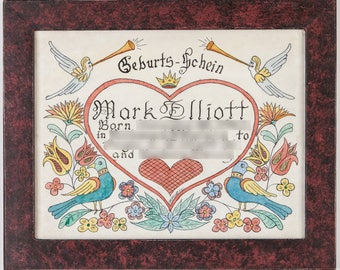 Fraktur Geburts Schein (Birth Certificate) - Design 1