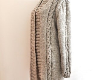 Beige Sweater Long Cardigan, Oversized Cardigan, Cable Knit Sweater, Long Sleeve, Winter Fashion