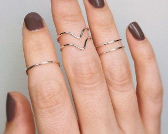 5 Knuckle Chevron Silver Rings, Midi rings, Knuckle rings set, Silver midi rings, Knuckle rings, Stacking rings, Sterling silver rings