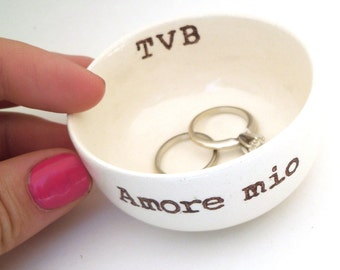 CUSTOM ITALIAN WEDDING ring dish personalized ring holder for destination wedding italian honeymoon italy engagement gift for bridal shower