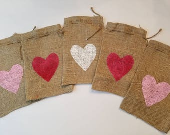 Valentine Burlap Favor Gift Bags with painted Heart, Set/5 6X10, Love, Wedding