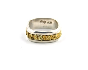 Sterling Silver Yukon Gold Nugget Band Ring