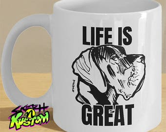 Great Dane Mug, Great Dane Gift with Great Dane Dog Art on Mug, Great Dane Art Decor / Great Dane Print - 'Life Is Great' Mug