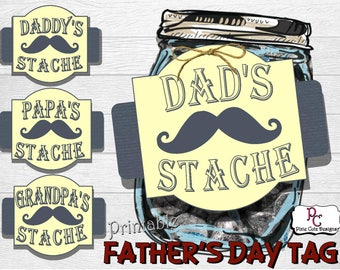 Father's Day DAD'S 'STACHE Printale Tag