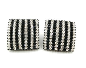 Vintage 1980's Big Rhinestone Earrings with Black Setting, Chunky Square Clip On Earrings with Clear Rhinestones, Huge Earrings