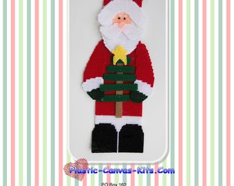 Santa and Stick Tree Wall Hanging-Christmas-Plastic Canvas Pattern-PDF Download