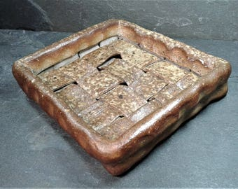 CANDY DISH: Wood Fired Stoneware Pottery Tray Candy Dish | Hand Built Woven Tray with Natural Ash