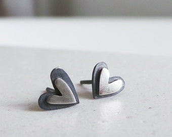 heart stud earrings contrasting hearts everyday studs girlfriend gift love jewelry
