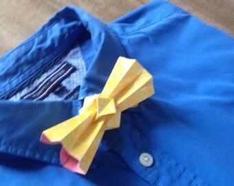 yellow origami bowtie