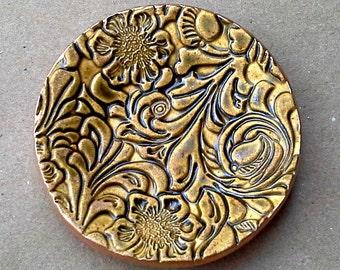 Matte Ceramic Flourish Ring Holder Dish DIJON  Mustard Yellow edged in gold 3 1/4 inches round