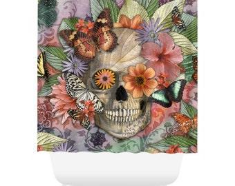Butterfly Sugar Skull Shower Curtain - Floral Skull Bath Curtain - Dia De Los Muertos Bathroom Decor - Butterfly Botaniskull