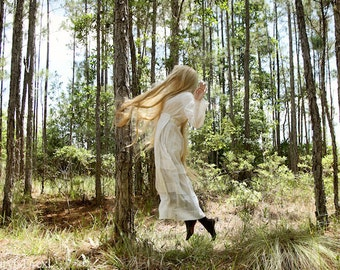 Along For The Ride - FREE SHIPPING Surreal Photo Print Dark Art Girl Long Blond Hair Trees Nature Jumping Floating Green Woods Yellow Brown