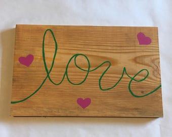 Love wall art, wood sign
