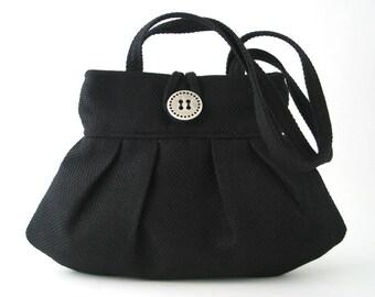 black fabric purse, vegan shoulder purse, small purse, vegan purse, hobo purse handbag, black evening bag, evening purse, womens handbags