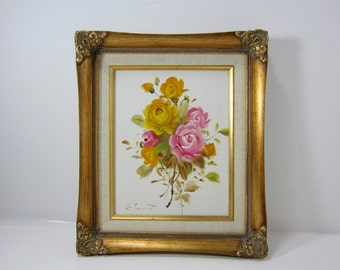 Original Rose Canvas Painting Yellow and Pink Roses Signed by Edward in a Gold Gilt Frame Anco Bilt Frame, Yellow and Pink Rose Bouquet,