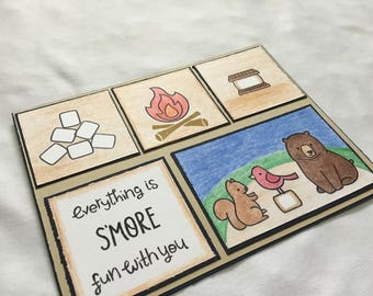 Handmade Greeting Card - Everything Is S'more Fun With You - Friendship Card - Love Card - Valentine Card