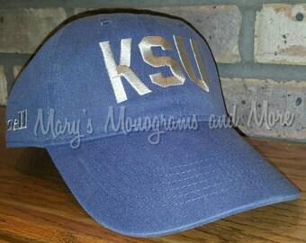 FREE SHIPPING - Embroidered KSU Hat - Monogrammed K-State Baseball Hat - Personalized Kansas State Cap - Kansas State University Wildcats