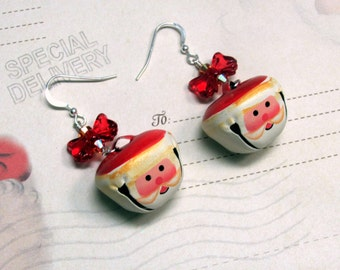 Santa Earrings, Jingle Bell Earrings, Santa Jingle Bells, Christmas Earrings, Holiday Earrings, Bell Earrings, Santa Jewelry, Dangle Earring